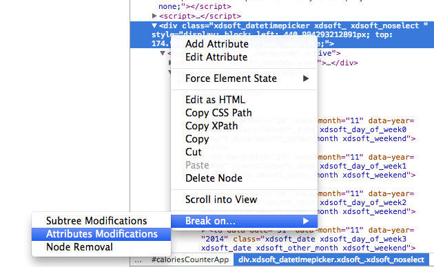 A breakpoint in Chrome Dev Tools