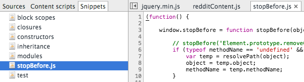 chrome Dev Tools Snippets